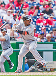 30 August 2015: Miami Marlins infielder Adeiny Hechavarria in action against the Washington Nationals at Nationals Park in Washington, DC. The Nationals rallied to defeat the Marlins 7-4 in the third game of their 3-game weekend series. Mandatory Credit: Ed Wolfstein Photo *** RAW (NEF) Image File Available ***