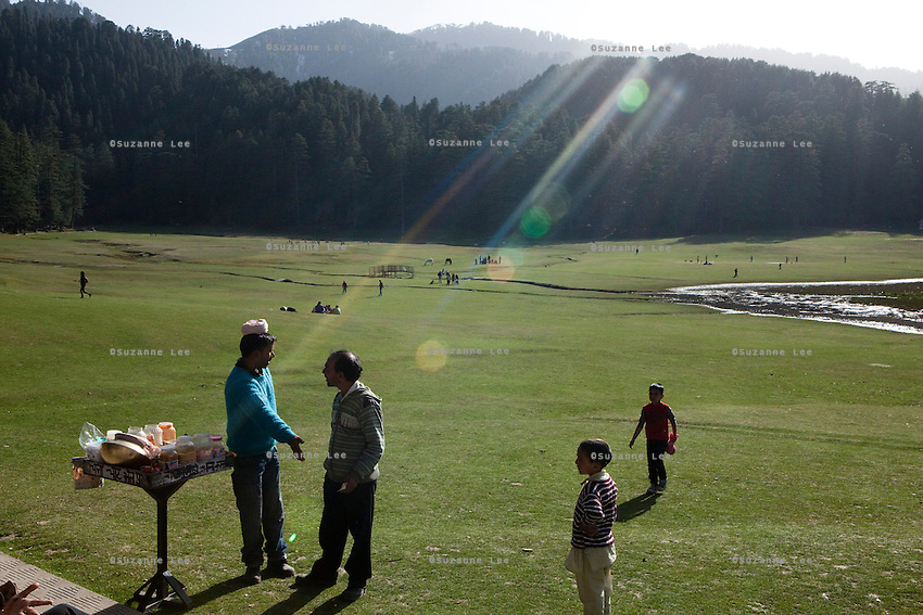 "Local and foreign tourists spend their luxury time in Khajjiar, also known as the ""mini Switzerland of Himachal"", a small hillstation in Chamba Valley, Himachal Pradesh, India in March 2012. Photo by Suzanne Lee/CapaPictures for ALSTOM Hydro."