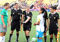 Abby Wambach #20 of Abby's XI and Marta #10 of Marta's XI at the coin toss during the WPS All-Star game at KSU Stadium in Kennesaw, Georgia on June 30 2010. Marta XI won 5-2.
