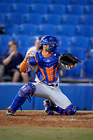 St. Lucie Mets catcher Anthony Dimino (44) during a game against the Dunedin Blue Jays on April 19, 2017 at Florida Auto Exchange Stadium in Dunedin, Florida.  Dunedin defeated St. Lucie 9-1.  (Mike Janes/Four Seam Images)
