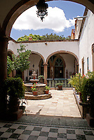 Interior courtyard of a Spanish colonial house in San Miguel de Allende, Mexico