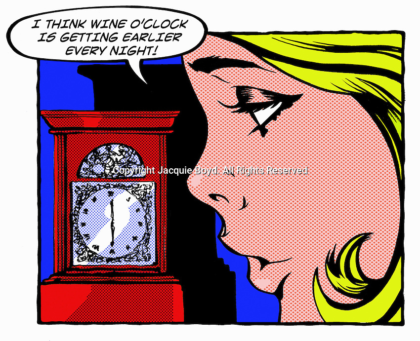 Pop art comic of young woman looking at the clock thinking about drinking wine ExclusiveImage