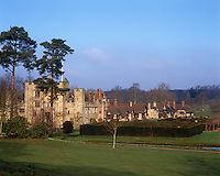 Hever Castle was the childhood home of Anne Boleyn and a yew hedge maze is a garden feature of the Tudor side of the building