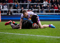 Harlequins' Gabriel Ibitoye scores his sides second try<br /> <br /> Photographer Bob Bradford/CameraSport<br /> <br /> Premiership Rugby Cup Semi Final - Exeter Chiefs v Harlequins - Sunday 2nd February 2020 - Sandy Park - Exeter<br /> <br /> World Copyright © 2018 CameraSport. All rights reserved. 43 Linden Ave. Countesthorpe. Leicester. England. LE8 5PG - Tel: +44 (0) 116 277 4147 - admin@camerasport.com - www.camerasport.com