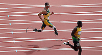 04.08.2012. London, England.  South Africas Oscar Pistorius Blade Runner Runs during the mens 400m Round 1 Heats  London 2012 Olympic Games  Pistorius qualified for The Semi-finals