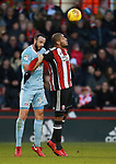 Leon Clarke of Sheffield Utd and Marc Wilson of Sunderland  during the Championship match at Bramall Lane Stadium, Sheffield. Picture date 26th December 2017. Picture credit should read: Simon Bellis/Sportimage