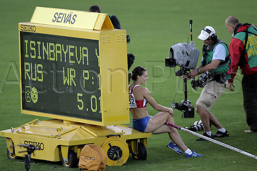 12 August 2005: Russian pole vaulter Yelena Isinbayeva (RUS)  after clearing the bar for a new world record of 5.01m during the Women's Pole Vault Final at the IAAF World Athletics Championships, held in the Olympic Stadium, Helsinki, Finland.  Photo: Glyn Kirk/actionplus...050812  woman women athlete female portrait