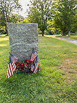 Monument marking the place of the former Dana Common in The Quabbin Reservoir