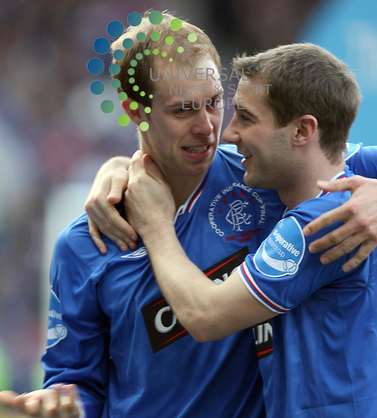 Steven Whittaker and Kevin Thomson after the game during The Co-Operative League Cup Final 2009/10 between St Mirren and Rangers at The National Stadium Hampden Park Glasgow 21/03/10..Picture by Ricky Rae/universal News & Sport (Scotland).
