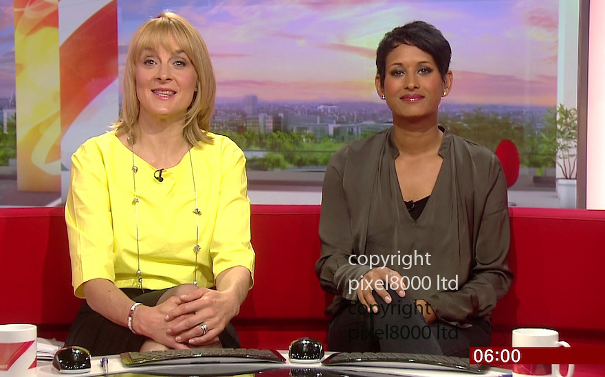 BBC Breakfast: Naga Munchetty and Louise Minchin<br /> <br /> St George's day seemed to turn in International Women's Day today on the BBC Breakfast show.<br /> <br /> Naga Munchetty and Louise Minchin Anchored the show<br /> along with Sally Nugent doing the sport (pink dress)<br /> <br /> Steph McGovern did the business news from a factory  in Alfreton where she interviewed recently jailed economist  Vicky Pryce who also sent her husband Chris Huhne to jail.<br /> <br /> Of course there was Carol Kirkwood doing the weather as ever.<br /> <br /> And just when you thought there might be a man on the screen you were offered a trailer for Victoria Derbyshire coming on afterwards at 9.15<br /> <br /> <br /> <br /> Picture by Pixel8000 07917221968
