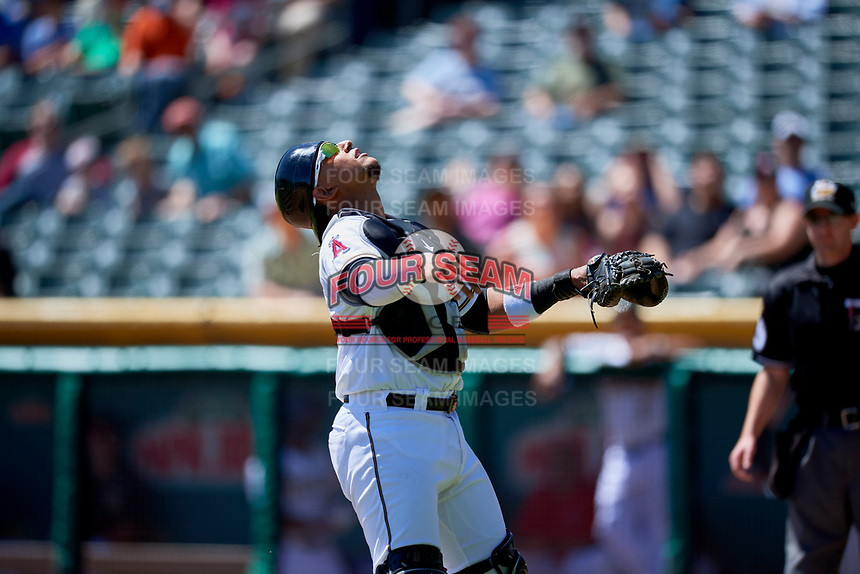 Jose Briceno (10) of the Salt Lake Bees on defense against the Albuquerque Isotopes at Smith's Ballpark on April 22, 2018 in Salt Lake City, Utah. The Bees defeated the Isotopes 11-9. (Stephen Smith/Four Seam Images)