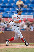 Francisco Plasencia (15) of the Potomac Nationals follows through on his swing at Ernie Shore Field in Winston-Salem, NC, Saturday August 9, 2008. (Photo by Brian Westerholt / Four Seam Images)