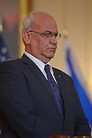 July 30, 2013  (Washington, D.C.)  Palestinian Chief Negotiator Dr. Saeb Erekat at the Department of State before Middle East peace talk with Israeli Justice Minister Tzipi Livni in Washington, D.C. (Photo by Don Baxter/Media Images International)