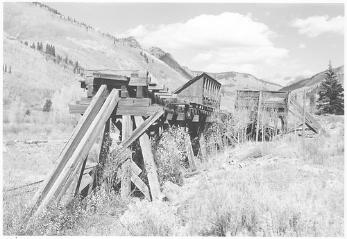 North facing view of the RGS Rico coal dock and trestle.<br /> RGS  Rico, CO  Taken by Richardson, Robert W. - 10/11/1952