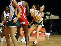 01.11.2012 South Africa's Nadia Uys in action during the netball test match between England and South Africa as part of the Quad Series played at the Claudelands Arena in Hamilton. Mandatory Photo Credit ©Michael Bradley.