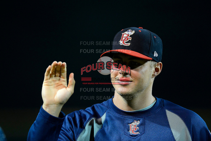 Brevard County Manatees pitcher Jed Bradley #21 after a game against the Lakeland Flying Tigers on April 10, 2013 at Joker Marchant Stadium in Lakeland, Florida.  Brevard County defeated Lakeland 7-6.  (Mike Janes/Four Seam Images)