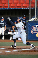 Dalton Blaser (22) of the Cal State Fullerton Titans bats against the University of San Diego Toreros at Goodwin Field on April 5, 2016 in Fullerton, California. Cal State Fullerton defeated University of San Diego, 4-2. (Larry Goren/Four Seam Images)