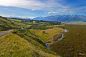 Looking over Glenrock Station on the edge of the Rakaia river to Mount Algidus, Ashburton District, Canterbury, South Island, New Zealand.