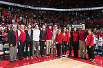 "Wisconsin Badgers honor the late Albert ""Ab"" Nicholas during halftime of an NCAA Big Ten Conference men's college basketball game against the Ohio State Buckeyes Thursday, January 12, 2017, in Madison, Wisconsin. The Badgers won 89-66. (Photo by David Stluka)"