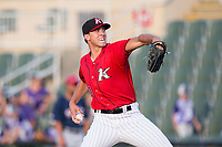 Kannapolis Intimidators starting pitcher Alec Hansen (30) in action against the Hagerstown Suns at Kannapolis Intimidators Stadium on June 15, 2017 in Kannapolis, North Carolina.  The Intimidators defeated the Suns 9-1 in game two of a double-header.  (Brian Westerholt/Four Seam Images)