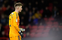 Sheffield United's Dean Henderson picks up a bottle that appeared to have been thrown onto the pitch<br /> <br /> Photographer Chris Vaughan/CameraSport<br /> <br /> The EFL Sky Bet Championship - Sheffield United v Blackburn Rovers - Saturday 29th December 2018 - Bramall Lane - Sheffield<br /> <br /> World Copyright © 2018 CameraSport. All rights reserved. 43 Linden Ave. Countesthorpe. Leicester. England. LE8 5PG - Tel: +44 (0) 116 277 4147 - admin@camerasport.com - www.camerasport.com