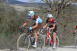 The peloton including Quentin Jauregui (FRA) AG2R La Mondiale climb sector 8 Monte Santa Maria during Strade Bianche 2019 running 184km from Siena to Siena, held over the white gravel roads of Tuscany, Italy. 9th March 2019.<br /> Picture: Seamus Yore | Cyclefile<br /> <br /> <br /> All photos usage must carry mandatory copyright credit (© Cyclefile | Seamus Yore)