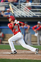 Batavia Muckdogs second baseman Hiram Martinez (15) at bat during a game against the Lowell Spinners on July 18, 2014 at Dwyer Stadium in Batavia, New York.  Lowell defeated Batavia 11-2.  (Mike Janes/Four Seam Images)