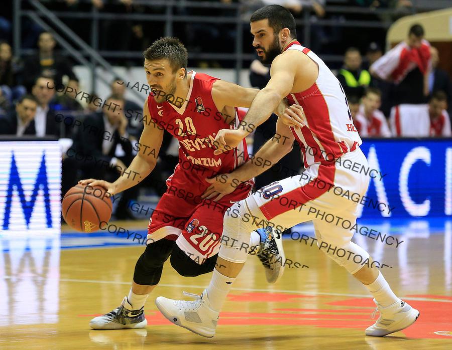 Kosarka ABA League season 2015-2016<br /> Crvena Zvezda v Cedevita<br /> Nemanja Gordic and Branko Lazic (R)<br /> Beograd, 04.01.2015.<br /> foto: Srdjan Stevanovic/Starsportphoto&copy;