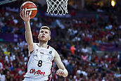 7th September 2017, Fenerbahce Arena, Istanbul, Turkey; FIBA Eurobasket Group D; Latvia versus Turkey; Power Forward Davis Bertans #8 of Latvia drives to the basket