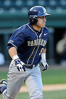 Second baseman Matt Johnson (5) of the University of Pittsburgh Panthers runs out a fly ball in a game against the Presbyterian Blue Hose on Tuesday, March 11, 2014, at Fluor Field at the West End in Greenville, South Carolina. Pitt won, 12-3. (Tom Priddy/Four Seam Images)