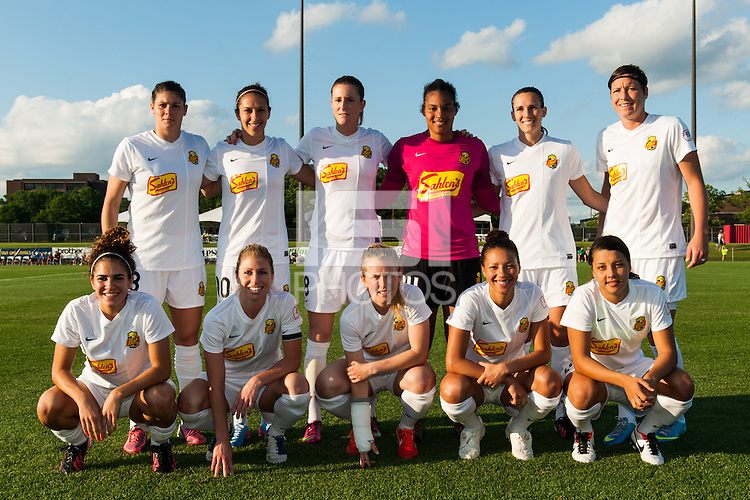 Western New York Flash starting eleven. The Western New York Flash defeated Sky Blue FC 3-0 during a National Women's Soccer League (NWSL) match at Yurcak Field in Piscataway, NJ, on June 8, 2013.