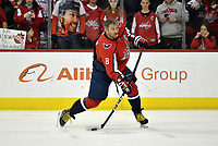 WASHINGTON, DC - FEBRUARY 26: Washington Capitals left wing Alex Ovechkin (8) sticks his tongue out while taking a slapshot during warm ups before the Ottawa Senators vs. Washington Capitals NHL game February 26, 2019 at Capital One Arena in Washington, D.C.. (Photo by Randy Litzinger/Icon Sportswire)