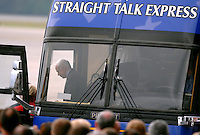 RICK WILSON PHOTO--4/3/08-- Republican Presidential candidate Sen. John McCain (top left) steps off his Straight Talk Express campaign bus to be greeted by supporters at Cecil Commerce Center on the westside of Jacksonville, Fl. Thursday morning April 3, 2008. McCain made the campaign stop at a location where he was stationed as a Navy aviator.  (The Florida Times-Union, Rick Wilson)