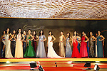 Contestants pose during the Miss Grand Japan 2015 contest in Tokyo on August 24, 2015. (Photo by AFLO)