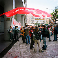 Demonstrators from the Communist Party of Greece (KKE) in Syntagma square during the financial crisis.