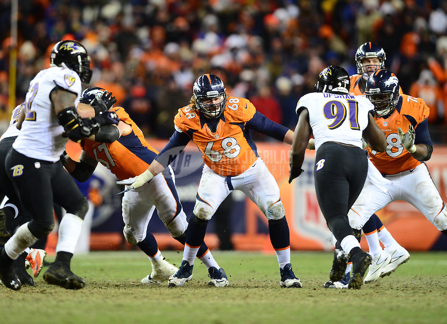Jan 12, 2013; Denver, CO, USA; Denver Broncos guard Zane Beadles (68) against the Baltimore Ravens during the AFC divisional round playoff game at Sports Authority Field.  Mandatory Credit: Mark J. Rebilas-