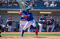 Rancho Cucamonga Quakes Cristian Santana (5) at bat against the Lake Elsinore Storm at LoanMart Field on April 22, 2018 in Rancho Cucamonga, California. The Storm defeated the Quakes 8-6.  (Donn Parris/Four Seam Images)
