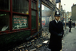 Brixton Riots. South London Uk April 1981. The day after police on duty to protect looted shops from being further looted.