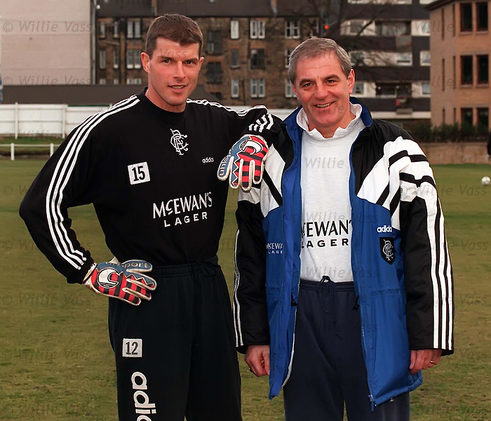 Walter Smith greets goalkeeper Theo Snelders at their frequent training base at Peel St Cricket Ground in Partick