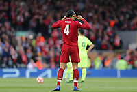 Liverpool's Virgil van Dijk encourages calm as his side celebrate the opening goal scored by Divock Origi <br /> <br /> Photographer Rich Linley/CameraSport<br /> <br /> UEFA Champions League Semi-Final 2nd Leg - Liverpool v Barcelona - Tuesday May 7th 2019 - Anfield - Liverpool<br />  <br /> World Copyright &copy; 2018 CameraSport. All rights reserved. 43 Linden Ave. Countesthorpe. Leicester. England. LE8 5PG - Tel: +44 (0) 116 277 4147 - admin@camerasport.com - www.camerasport.com