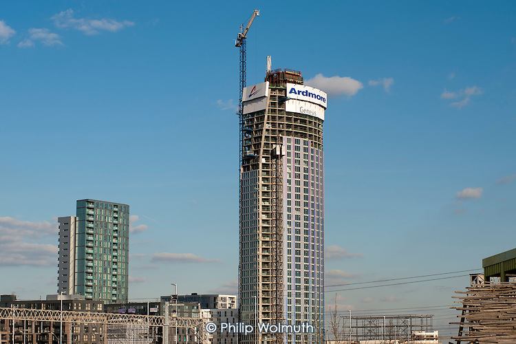 43 storey residential block built by the Ardmore Group for Genesis Housing Association in Stratford, overlooking the London 2012 Olympic Park.
