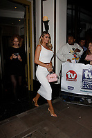LONDON, ENGLAND - SEPTEMBER 10 :  Chloe Sims leaves the TV Choice Awards 2018, at The Dorchester hotel, on September 10, 2018 in London, England.<br /> CAP/AH<br /> &copy;AH/Capital Pictures