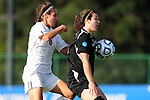 03 DEC 2011: Megan Brown (8) of GVSU and Carmelina Puopolo (5) of Saint Rose battle for the ball during the Division II Women's Soccer Championship held at the Ashton Brosnaham Soccer Complex in Pensacola, FL.  Saint Rose defeated Grand Valley State 2-1 to win the national title.  Stephen Nowland/NCAA Photos