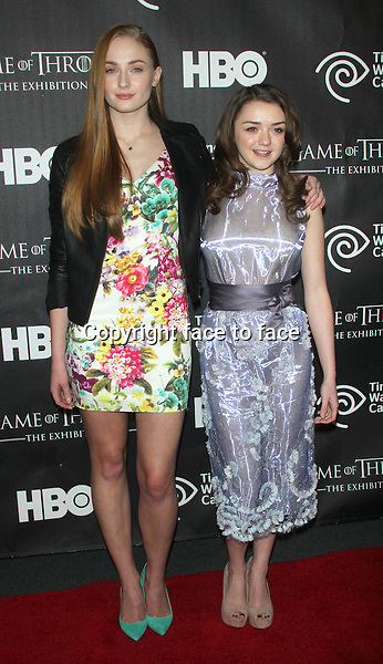 """NEW YORK, NY - MARCH 27: Sophie Turner and Maisie Williams at the """"Game Of Thrones"""" The Exhibition New York Opening at 3 West 57th Avenue on March 27, 2013 in New York City...Credit: MediaPunch/face to face..- Germany, Austria, Switzerland, Eastern Europe, Australia, UK, USA, Taiwan, Singapore, China, Malaysia and Thailand rights only -"""