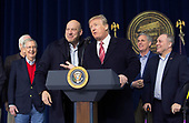 United States President Donald J. Trump and his Chief Economic Advisor Gary Cohn affirm their support for each other at Camp David, the presidential retreat near Thurmont, Maryland after holding meetings with staff, members of his Cabinet and Republican members of Congress to discuss the Republican legislative agenda for 2018 on January 6, 2018. From left to right: US Senate Majority Leader Mitch McConnell (Republican of Kentucky); Mr. Cohn; President Trump; US House Majority Leader Kevin McCarthy (Republican of California); and US House Majority Whip Steve Scalise (Republican of Louisiana).<br /> Credit: Chris Kleponis / Pool via CNP