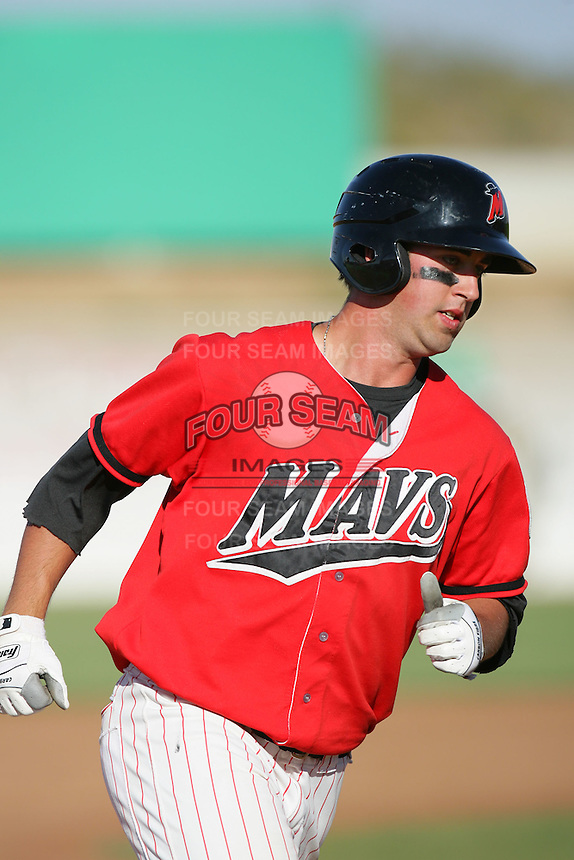 May 16, 2010: Scott Savastano of the High Desert Mavericks during game against the Stockton Ports at Mavericks Stadium in Adelanto,CA.  Photo by Larry Goren/Four Seam Images