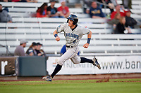Lake County Captains center fielder Conner Capel (8) runs home during a game against the Quad Cities River Bandits on May 6, 2017 at Modern Woodmen Park in Davenport, Iowa.  Lake County defeated Quad Cities 13-3.  (Mike Janes/Four Seam Images)