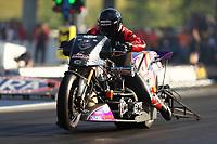 Jun 16, 2017; Bristol, TN, USA; NHRA top fuel nitro Harley Davidson motorcycle rider Tii Tharpe during qualifying for the Thunder Valley Nationals at Bristol Dragway. Mandatory Credit: Mark J. Rebilas-USA TODAY Sports