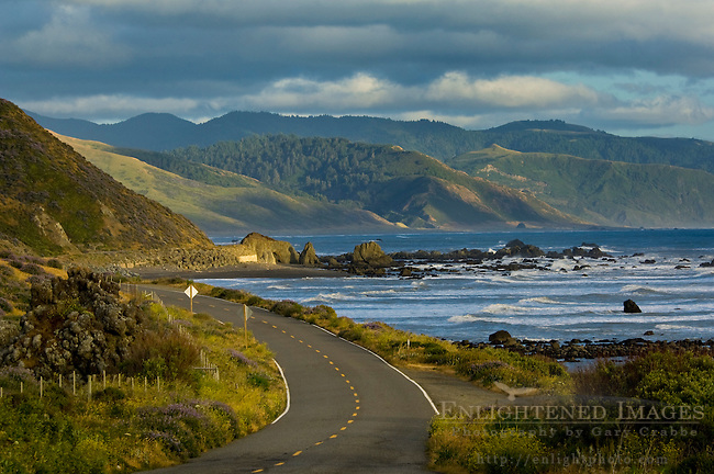 The Mattole Road along the ocean at the Lost Coast near Cape Mendocino, Humboldt County, California