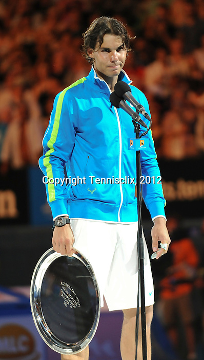Novak Djokovic wins the final at the Australian Open in Melbourne Australia on January 29, 2012.